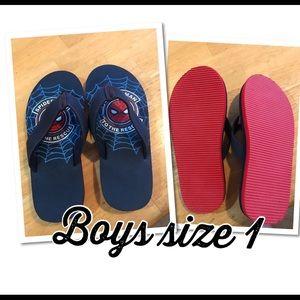 NWOT Boys size 1 Spider-Man Marvel flip flops